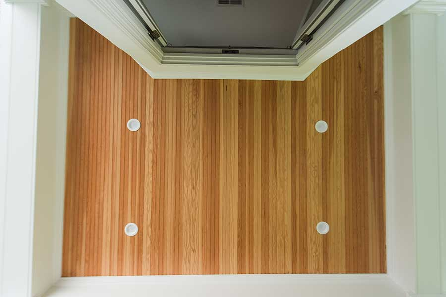 After - Balcony Ceiling with Stained Beadboard & LED Wafer Lighting