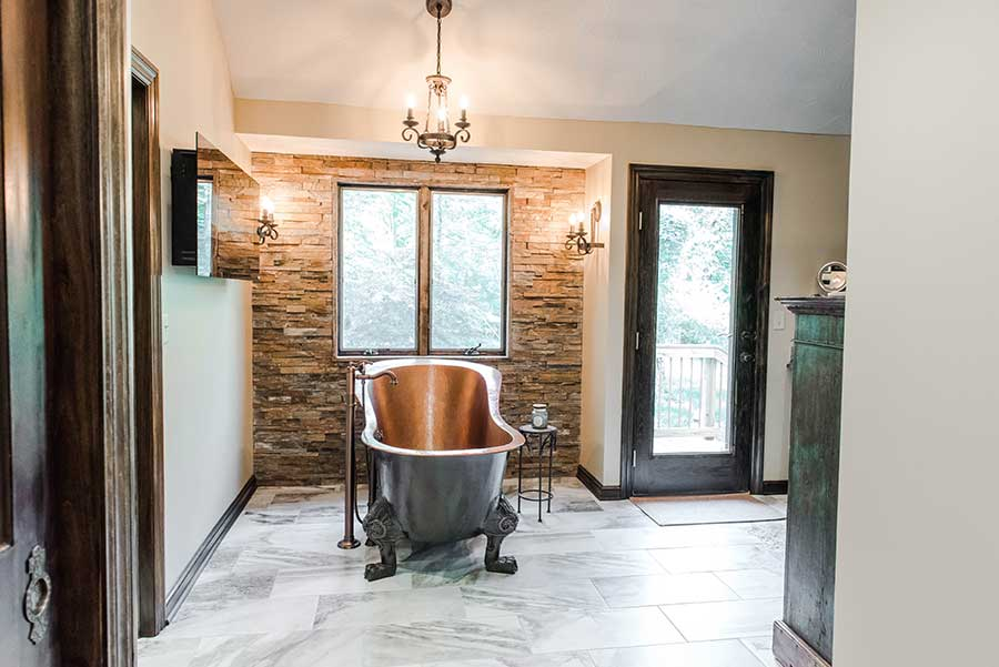 After - Free-standing Copper Bathtub & Stacked Stone Accent Wall