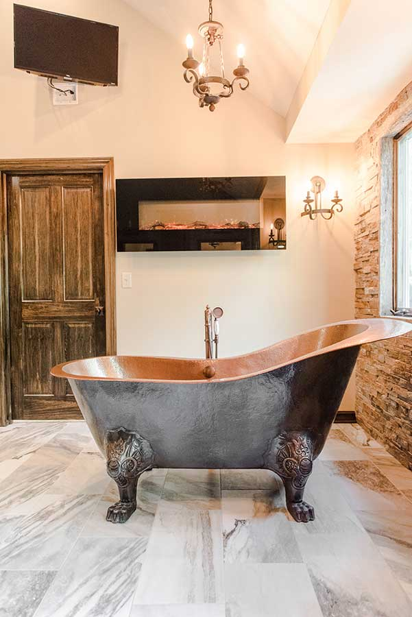 After - Free-standing Copper Tub & Electric Fireplace