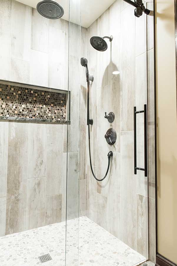 After - Master Shower with Mosaic Tile Niche