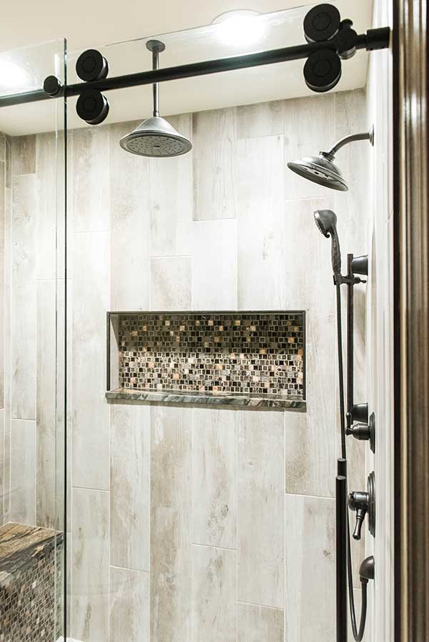 After - Master Shower with Mosaic Tile Shower Niche
