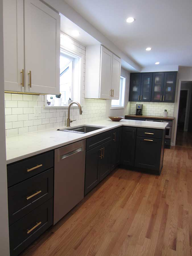 After - New Quartz Countertops and White Subway Tile Backsplash