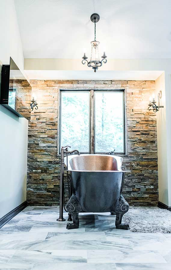 After - Stacked Stone Accent Wall Installation
