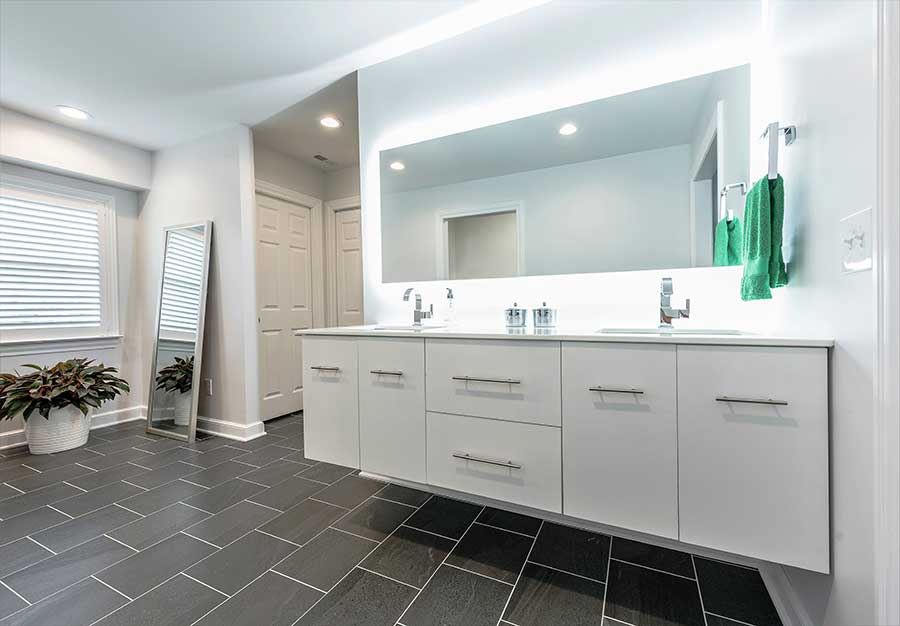 After - Updated Bathroom with Floating Double Sink Vanity