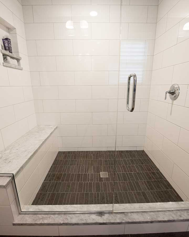 After - New Master Bathroom - Walk-in Shower with Bench
