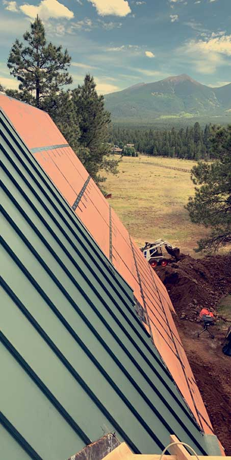 Exterior Metal Roof Installation With A View